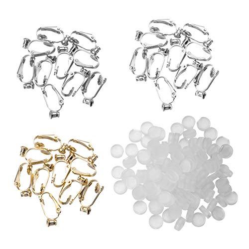 SUPVOX Clip-on Earrings Converter Components con Poste para Orejas no Perforadas 3 Colores y Almohadillas de Pendiente de Confort 60 Piezas (Dorado, Plateado y Cobre)