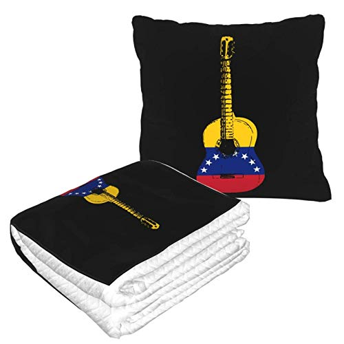 Manta de viaje con diseño de la bandera de Venezuela, 2 en 1, suave y cálida de alta calidad, manta para el cuello de avión