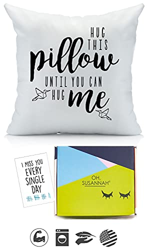 Oh, Susannah Hug This Pillow Until You Can Hug Me 18x18 Throw Pillow Cover Girlfriend Gifts - with Gift Box