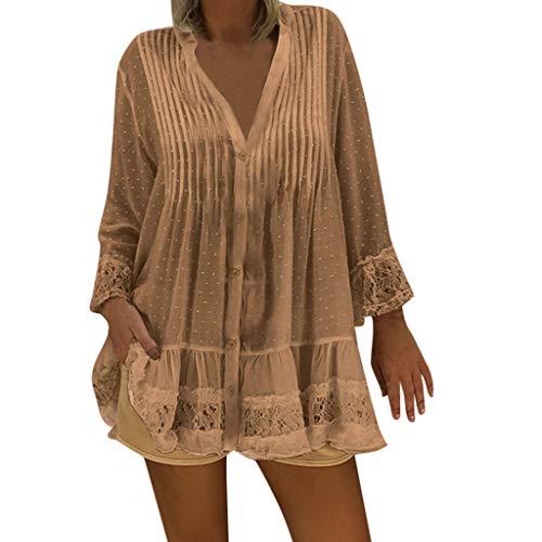 CAOQAO Damen T-Shirt Mit Gefaltetem Druck V-Ausschnitt Kaftan Boho Strand Cover Plus Size Damen Vintage Hippie Baggy Bluse Mode LäSsig Tunika (XXL,Khaki)