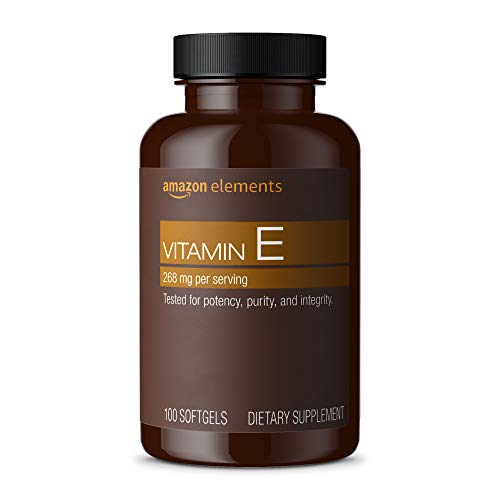 Amazon Elements Vitamin E, 400 IU, 100 Softgels, more than a 3 month supply (Packaging may vary)