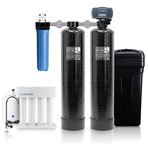 Aquasure Signature Series Complete Whole House Water Treatment System w/Water Softener, Water Conditioner & 75GPD RO System (64,000 Grains)