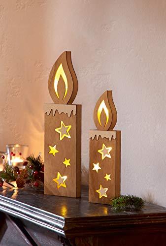 """2er LED Kerze """"Sternenschein"""" mit 3D-Leuchteffekt, Licht, Stern aus Holz"""