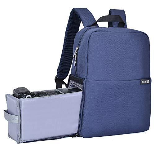 Kamerarucksack, CADeN Wasserabweisend Kameratasche Dual Use DSLR Bag Diebstahl Fotorucksack Kompatibel mit spiegelreflexkamera Canon Nikon Sony 14'' Laptop Stativ(Blau)