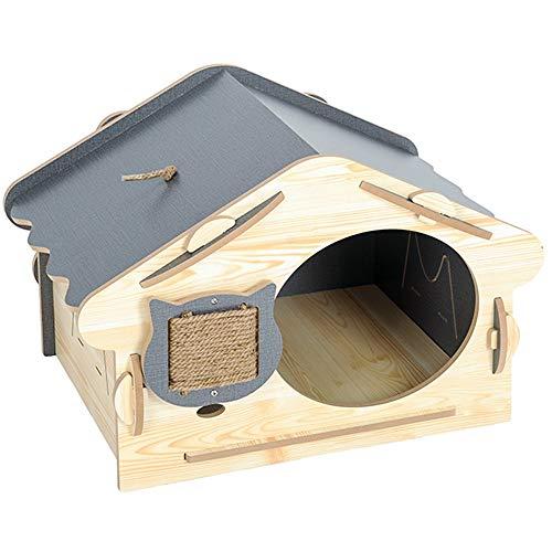 Ouqian-BB Haustier Haus Pet House Dog House Cat House Hundehütte Außeneinsatz Innengebrauch und Hunde Katzenburg Katzenhaus Lodge (Farbe : Natural, Größe : 60x40x40cm)