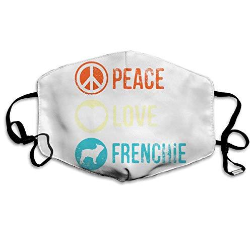 Half Face Schal, Peace Love Frenchie Druck Mundschutz