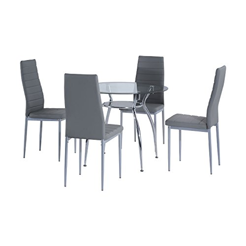HOMCOM 5pcs Dining Room Set Table Chairs Contemporary Modern Furniture Tempered Glass (Grey)