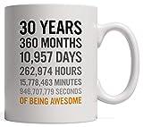 Cerámica Copa,30.o regalo de cumpleaños Treinta años Meses Días Horas Minutos Segundos de ser impresionante Aniversario Taza de cumpleaños para adultos Hijo Hija Hombres o mujeres - De Hermano Hermana
