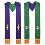 BLESSUME Stola sacerdotale Chiesa Reversibile (Purple & Green)