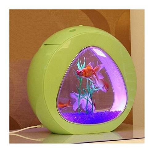 YTG Mini Nano écologie Fish Tank avec Ornement LED système de Construction dans Le Filtre d'intégration par USB Fournitures d'alimentation Aquariums et Caracos (Color : Yellow)