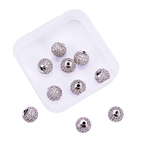 NBEADS 1 Box 10pcs 10mm Platinum Color Clear Crystal Cubic Zirconia Pave Micro Setting Disco Ball Spacer Beads, Brass Round Bracelet Connector Charms Beads for Jewelry Making