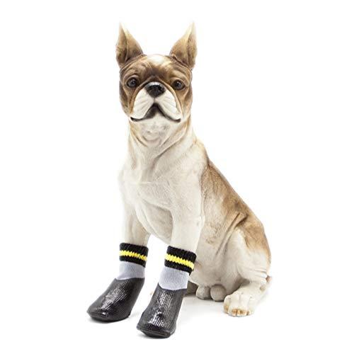 POPETPOP Hundestiefel, wasserdicht, Winterstiefel mit rutschfesten Socken für kleine mittelgroße und große Hunde, Schwarz (Größe 1)