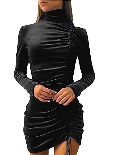 Beautmell Vestido ajustado de manga larga con cuello alto y cordón lateral para mujer, color sólido, sexy, estilo clubwear casual, Negro, XXXL