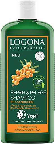 LOGONA Naturkosmetik Repair & Pflege Shampoo, Bio-Sanddorn, Intesive Pflege für trockenes, Geschädigtes Haar, Reapriert, 250 ml
