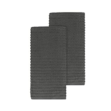 Ritz Royale Collection 100% Combed Terry Cotton, Highly Absorbent, Oversized, Kitchen Towel Set, 28  x 18 , 2-Pack, Solid Graphite