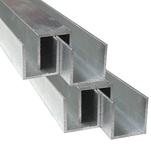 Alu U-Profil 20 x 20 x 20 x 1,5 mm Aluminium AlMgSi0,5 U-Stab Profil Aluprofil U-Stange (150 cm)