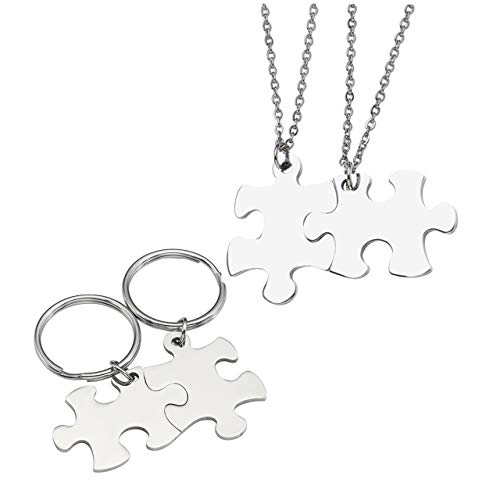 Jovivi Gratis Gravur - Personalized Edelstahl Puzzle Anhänger Partnerketten + Paar Puzzle Schlüsselanhänger Silber