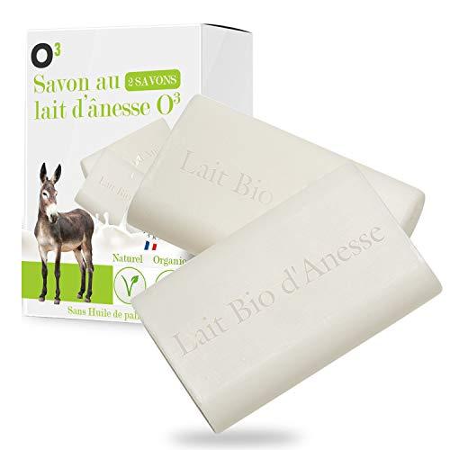 O³ Savon au Lait Bio d'Anesse-Savon 100% Naturel Sans Huile de Palme ni Edta-Anti ride at Anti Acné-Production 100% française (2 Savons de 100gr)