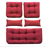 QILLOWAY Outdoor Patio Wicker Seat Cushions Group Loveseat/Two U-Shape/Two Lumbar Pillows for Patio Furniture,Wicker Loveseat,Bench,Porch,All Weather, Settee of 5 (RED)