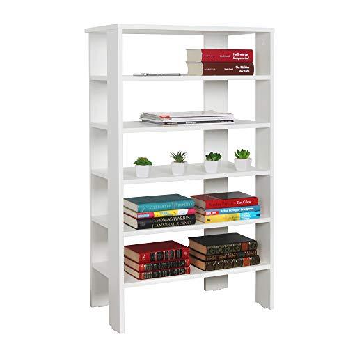 RICOO WM041-WM Estantería 105 x 60 x 32 cm Estante pequeño Librería Moderna Biblioteca Muebles de hogar Mueble almacenaje Madera Color Blanco Mate