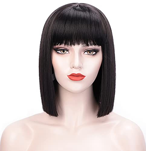 Juziviee Black Wigs for Women, 12'' Short Black Bob Wig with Bangs, Natural Looking Soft Synthetic Hair Wig, Cute Wigs for Party Cosplay Halloween AD016BK1
