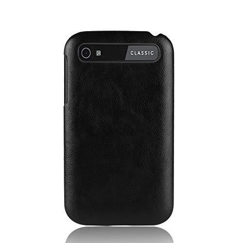 INSOLKIDON Kompatibel mit BlackBerry Classic Q20 Hülle PC Hart Zurück Abdeckung Telefon Schutz Schale Ultra Dünn Stoßstange Fall Anti-Fall Kratzfest Leder Textur (Schwarz)