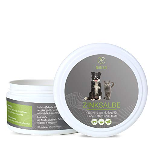 Nutrani Zinc Ointment for Dogs, Cats and Horses I 200 ml - Nourishing Wound Ointment Supports the Wound Care of Eczema, Irritation and Other Skin Problems I Disinfects and Soothes Itching.