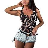 Saoye Fashion Femmes Manches Justaucorps Motifs Floraux Mode Classique Polyvalent Romper Printemps Vêtements de Fiesta Eté Femmes Skinny Body Tendance Grenouillère (Color : Negro, One Size : M)