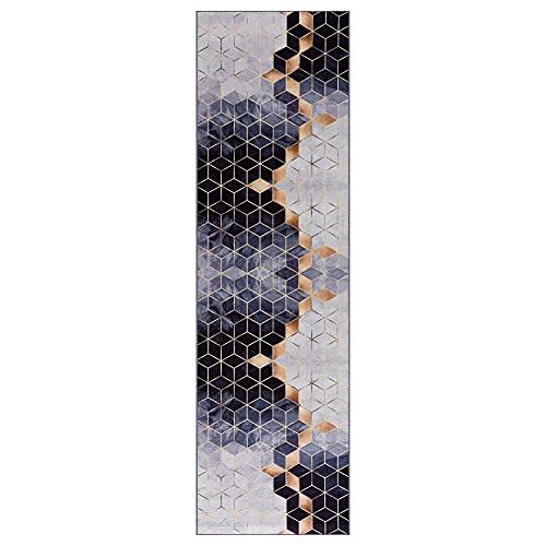 wunderlin Läufer Flur Teppich Küche Collection Waschbarer Modernes Design, Wertvoll Verwenden Für Teppichlaeufer, rutschfest und Küchenläufer Nützlich Küchenteppich Waschbar (Cube, 60x200)