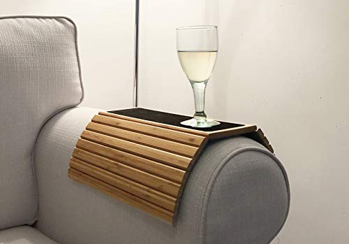 En Route Sofa Arm Tray Table. Slinky Secure/Flexible/Foldable Couch Tray Table with Non-Slip Mat for Drinks, Food, Phone or Remote. Sustainable Slinky Bamboo Design