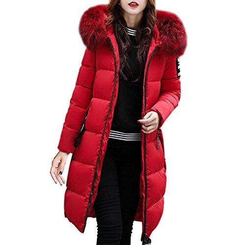 Zarupeng Frauen Kapuze Daunenjacke, Reine Farbe Dicker Winter Lange Slim Fit Mantel (3XL, Rot)