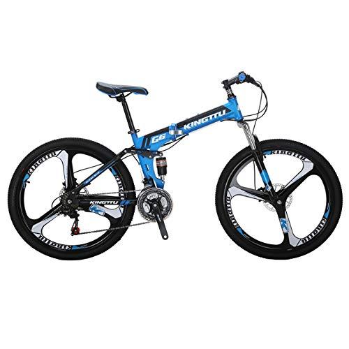 Kingttu KTG6 Mountain Bike 26 Inches 3 Spoke Wheels Dual Suspension Folding Bike 21 Speed MTB Blue