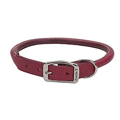 "Coastal Pet Circle T Oak-Tanned Rolled Leather Dog Collar | Red Color | 1"" Width by 22"" Girth"