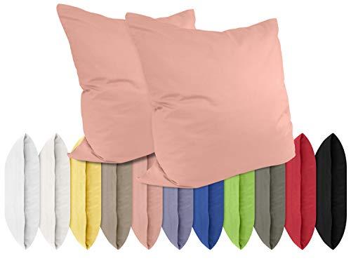 npluseins Renforcé-Kissenbezüge im Doppelpack - 100% Baumwolle – schlicht und edel im Design, in 11 Uni-Farben, 40 x 40 cm, Altrosa