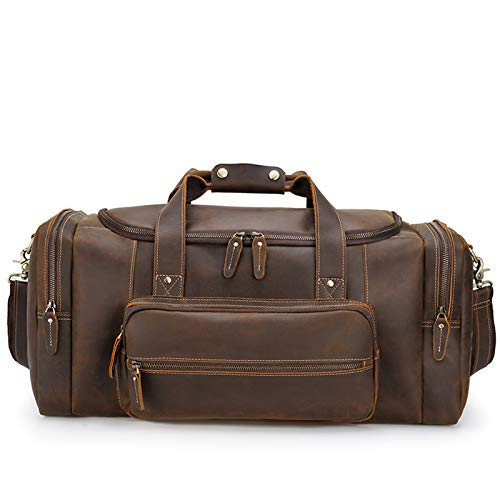 Oversized Leather Travel Duffel Bag, Weekender Overnight Bag Waterproof Leather Large Carry on Bag Travel Tote Duffel Bag for Men Or Women,dark brown