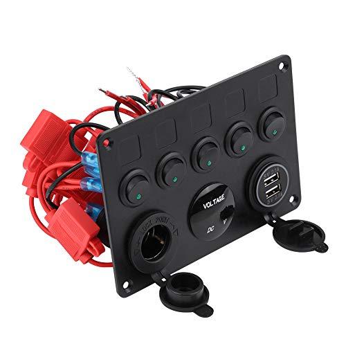 Fydun Panel de interruptor de palanca 12-24V Panel de interruptor de palanca de encendido/apagado de 5 pandillas Voltímetro USB doble para camión marino de barco de automóvil(rojo)
