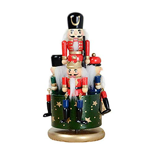 gerFogoo - Carillon con motivo schiaccianoci in legno stampato di noce, schiaccianoci Babbo Natale, ideale come regalo di Natale