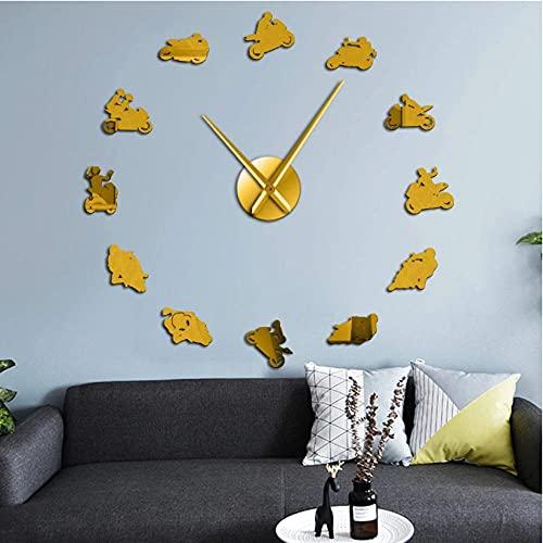 LTMJWTX 3D DIY Reloj de Pared Motor Sport Bike Racing Sports Bike Motocicleta Racer Moto Wall Art Big Time Clock Motorcross Lover Gift-47INCH