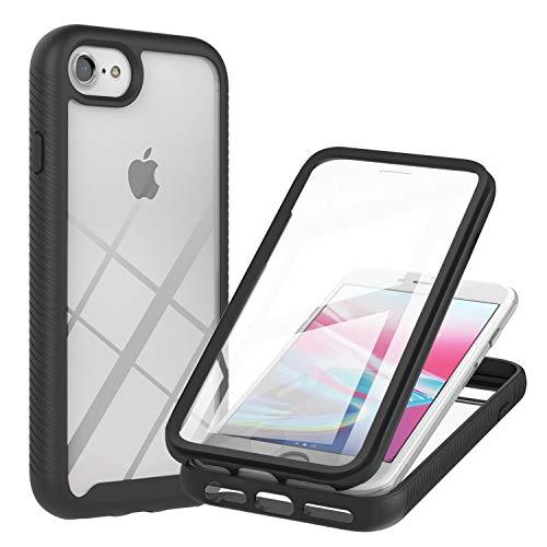 JZ 360 Degrees Front & Back Transparent Phone Funda For para iPhone 8/7/6S/6/SE 2020 Full Screen Coverage Funda - Black