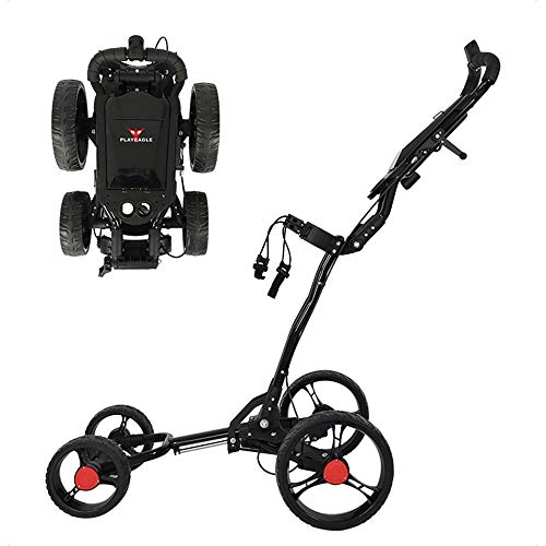 YQQWN Faltbare Golf Cart Easy Push und Pull Golf Trolley mit Handbremse und Multi-Funktions-Panel-Schirmständer - One-Click-Demontage