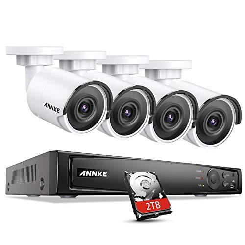 ANNKE H800 Bullet 8MP Ultra HD PoE Telecamera Kit Videosorveglianza Rete 8CH 4K NVR 2TB Disco Rigido e 4 Telecamere Sistema di Sorveglianza Visione Notturna EXIR 2.0 Accesso Remoto APP Alert- 2TB HDD