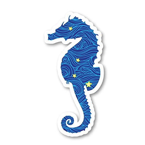 Seahorse Sticker Blue Spirals and Stars Stickers - 2 Pack - Laptop Stickers - 2.5' Vinyl Decal - Laptop, Phone, Tablet Vinyl Decal Sticker (2 Pack) S81901