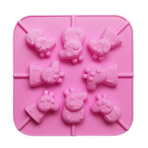 Molde de silicona 3D con diseño de cerdo de dibujos animado