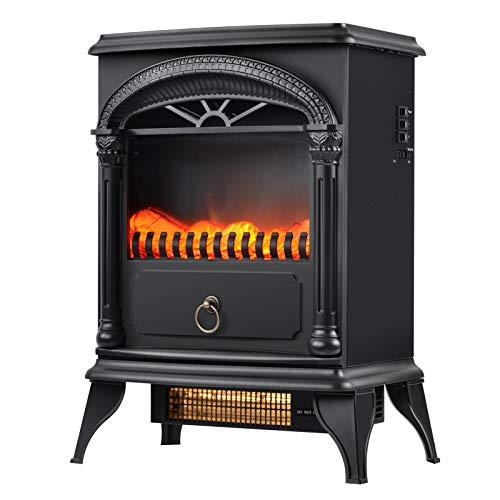 JGONas Estufa eléctrica de chimenea de 1500 W con efecto llama, Microhorno eléctrico de 16 pulgadas, portátil, estufa de leña, luz LED, 2 ajustes de calor, color negro