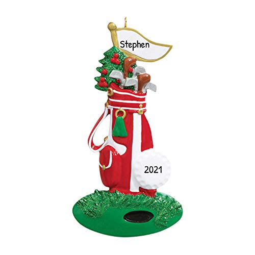 Personalized Christmas Ornaments 2017 Golf Bag Sticks Golfer Sports Player Active Athlete Holiday Tree Ornament Golfing Golf Cart Caddie Coworker Workers Gift Hobby Scores Ball