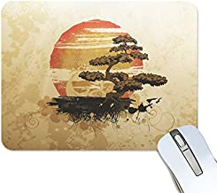 BlueViper Japanese Style Bonsai Tree Mouse Pad Smooth Surface Gaming Pad Thick Non-Slip Rubber Base Colorful Cute Design Art Artist Painting Unique Novelty Gift for School Office Game
