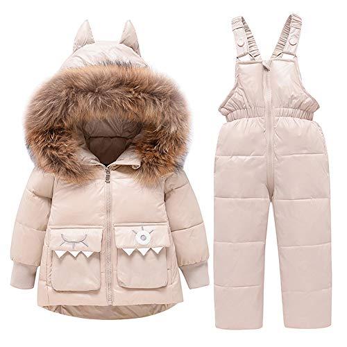 LPATTERN Baby/Kleinkind Jungen Mädchen 2 Teilig Bekleidungsset Winter Schneeanzug Winteranzug Skianzug Daunenanzug Outfit(Daunenjacke mit Fellkapuze+ Daunenhose/Latzhose), Beige, 98(Label:100)