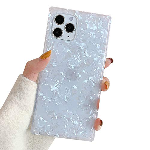 Compatible with iPhone 12 and iPhone 12 Pro Case 6.1 inch Marble Square Design Shockproof Cover Soft Silicone Rubber TPU Bumper Phone Case (White)
