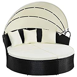 TANGKULA Patio Furniture Round Daybed with Canopy