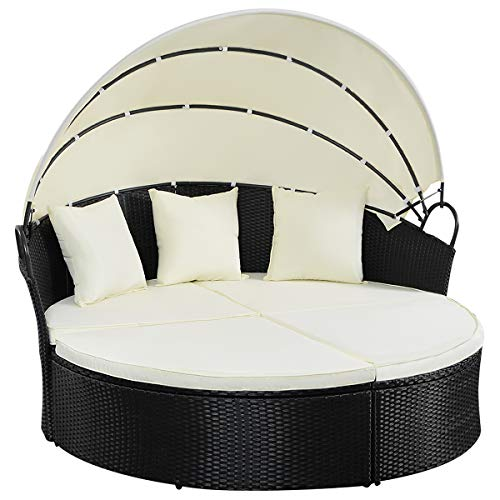 TANGKULA Patio Furniture Outdoor Lawn Backyard Poolside Garden Round with Retractable Canopy Wicker Rattan 74' Diameter Round Daybed, Seating Separates Cushioned Seats (Without Table Round Bed)